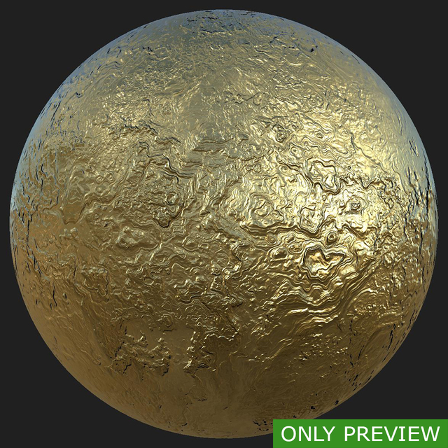 PBR substance material of gold created in substance designer for graphic designers and game developers