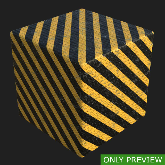 PBR substance material of metal floor warning stripes painted created in substance designer for graphic designers and game developers