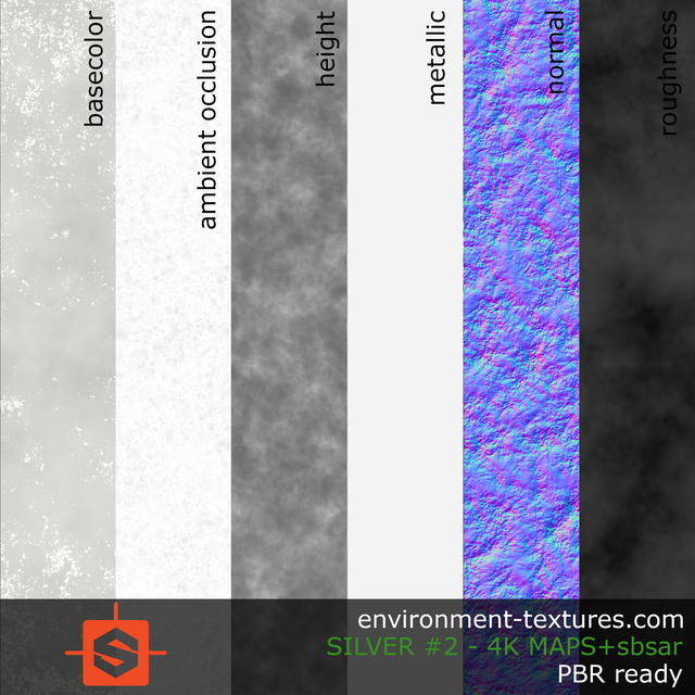 PBR substance material of silver created in substance designer for graphic designers and game developers
