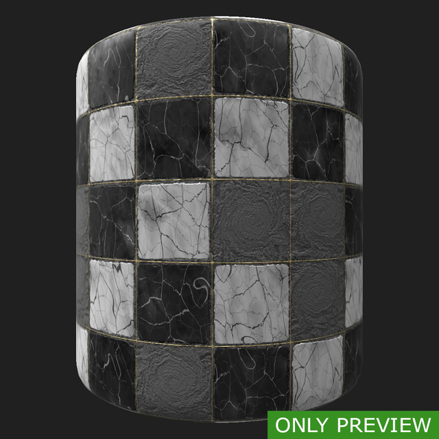 PBR substance material of marble floor damaged created in substance designer for graphic designers and game developers