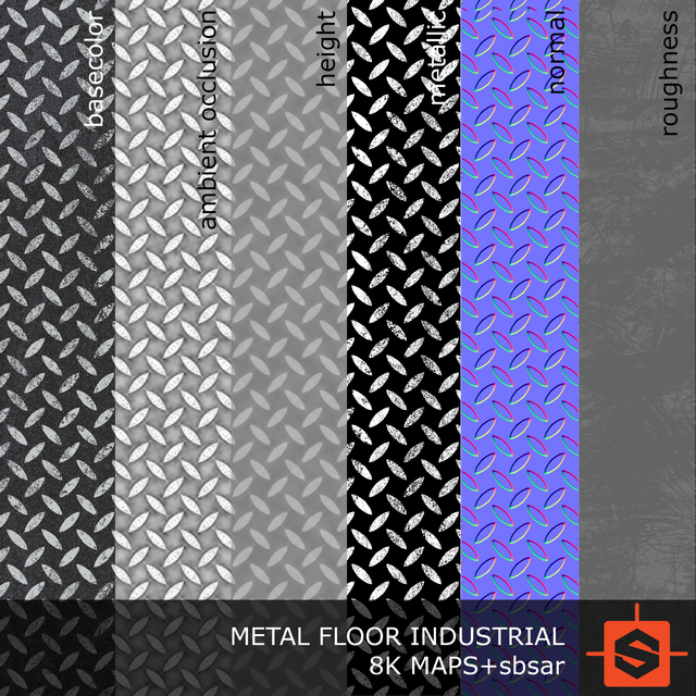 PBR substance material of metal floor industrial created in substance designer for graphic designers and game developers.
