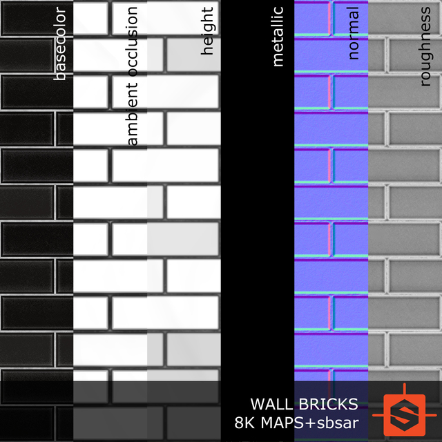 PBR substance material of wall bricks modern created in substance designer for graphic designers and game developers