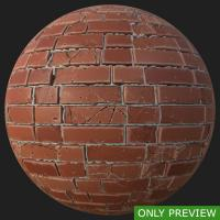 PBR wall brick damaged texture 0001