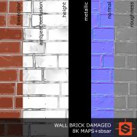 PBR wall brick damaged texture 0004