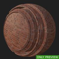 PBR wall brick damaged texture 0003