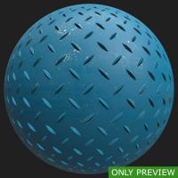 PBR painted metal floor blue preview 0001