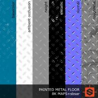 PBR painted metal floor blue texture DOWNLOAD