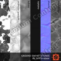 PBR ground snowy stones texture DOWNLOAD