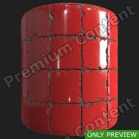 PBR red tiles floor damaged preview 0003