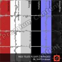 PBR red tiles floor damaged texture DOWNLOAD