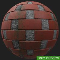 PBR wall bricks dirty preview 0001