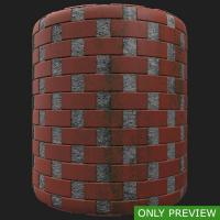 PBR wall bricks dirty preview 0003