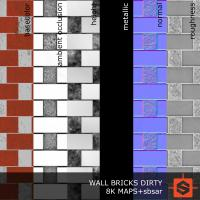 PBR wall bricks dirty texture DOWNLOAD