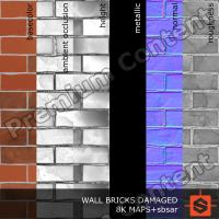 PBR wall brick damaged texture DOWNLOAD
