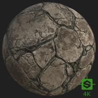 PBR Texture of Rock Cracked