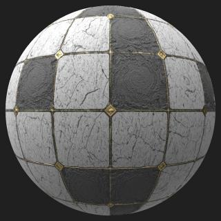 Marble Floor Tiles Damaged PBR #3